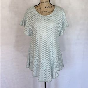 NWT Entro Textured Ruffled Short Sleeve Top Size S